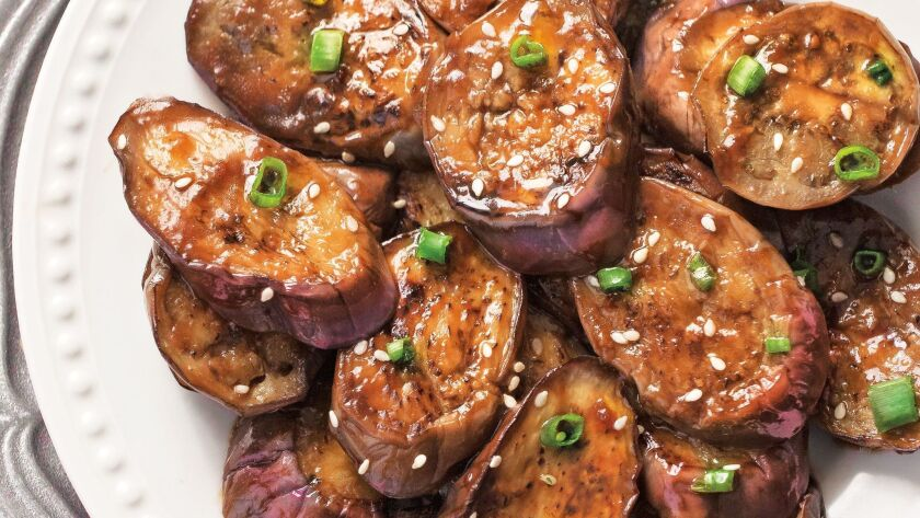 """Chinese Eggplant With Garlic Sauce from """"The Asian Slow Cooker"""" by Kelly Kwok."""