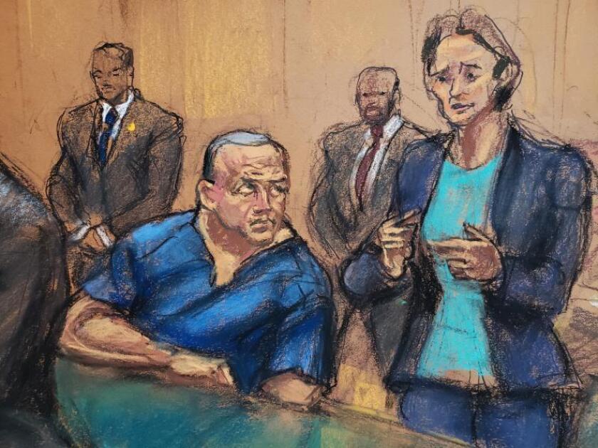 MReproducción fotográfica de un dibujo realizado por la artista Jane Rosenberg donde aparece la abogada Sarah Baumgartel mientras habla junto a su cliente César Sayoc, durante una audiencia, el 15 de noviembre de 2018 , en un tribunal federal de Manhattan en Nueva York (EE.UU.). Sayoc, supuesto autor del envío de 16 paquetes bomba de fabricación casera a 13 figuras públicas en Estados Unidos el pasado octubre, se declaró no culpable de los 30 cargos que le imputa la Justicia en Nueva York. EFE/Jane Rosenberg/Archivo