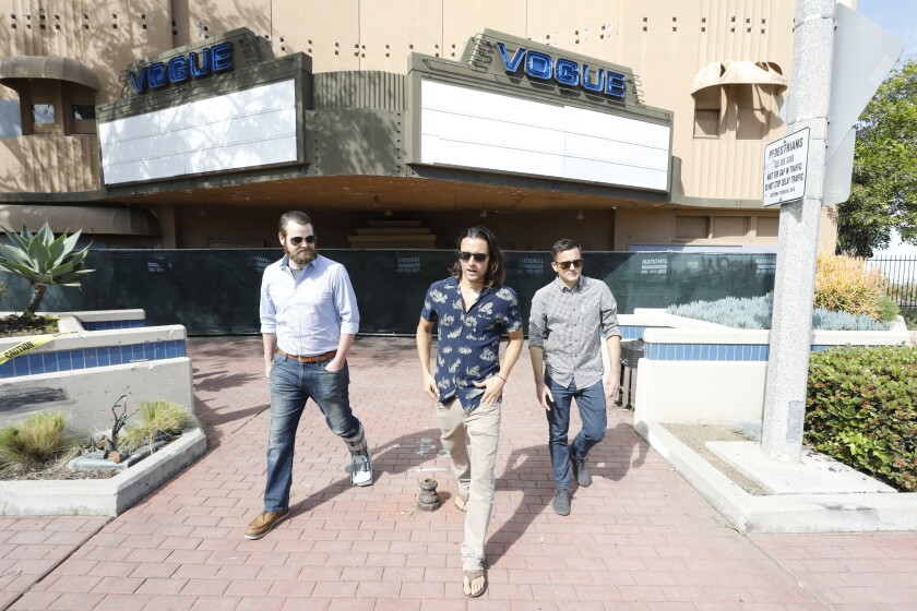 Slade Fischer, left, David Michael, and Kyle Preish are principals in revamping the Vogue Theater in downtown Chula Vista. It will become a concert venue.