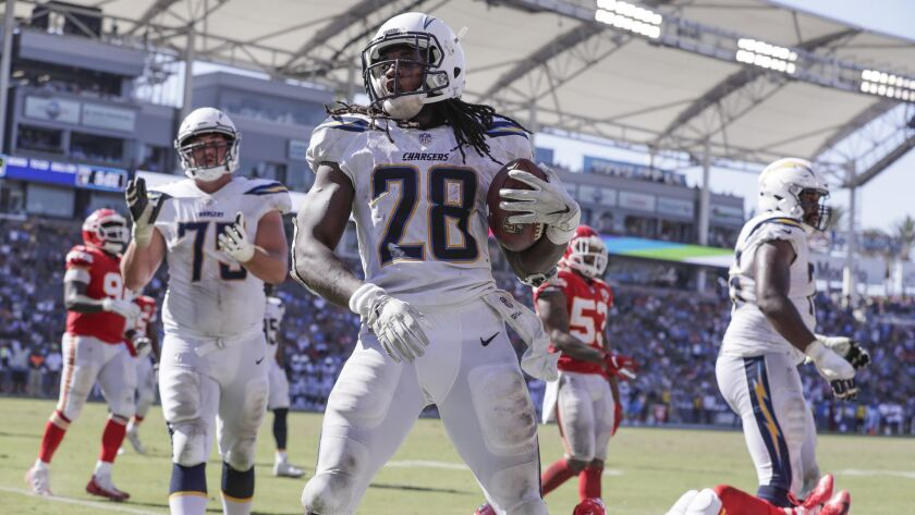 CARSON, CA, SUNDAY, SEPTEMBER 9, 2018 - Chargers running back Melvin Gordon scores a fourth quarter