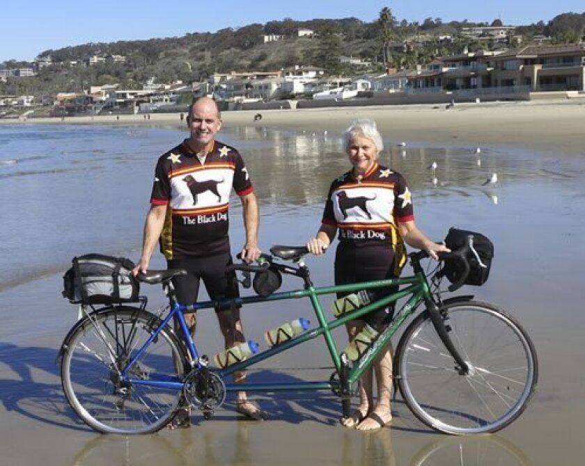 Hank and Carolyn Peterson start their 9-month, cross-country journey at La Jolla shores Jan. 11 and ended up in Boston Sept. 14 for Hank's 50th high school reunion. Courtesy