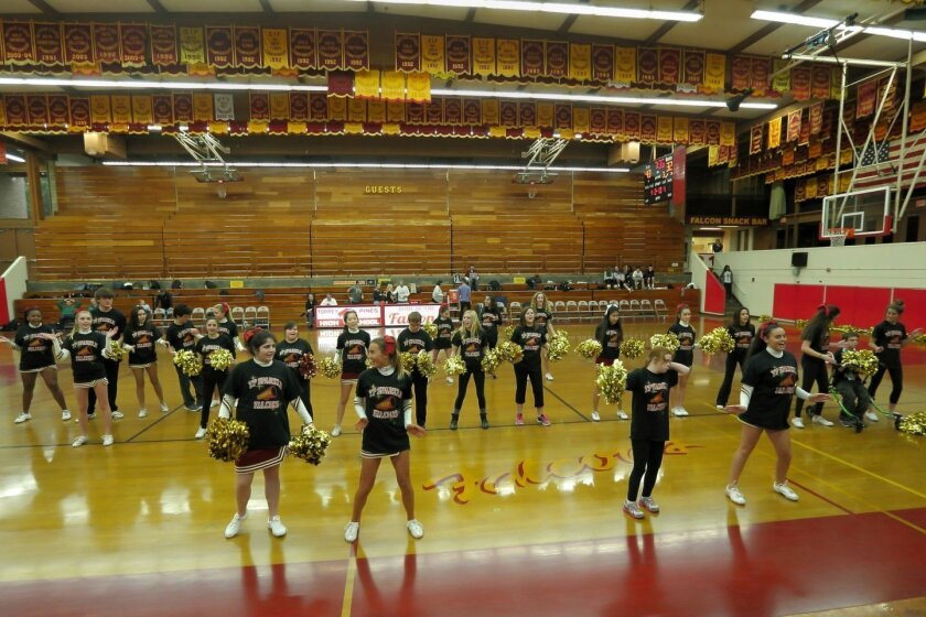 The TPHS Sparkle cheerleading squad at half-time at the Jan. 19 TPHS vs Poway JV game. See more photos from this event at www.delmartimes.net. Photo by Jon Clark