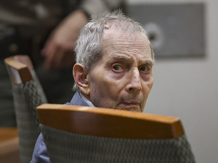 Real estate heir Robert Durst, 76, sits Thursday during the second day of his murder trial in Los Angeles.