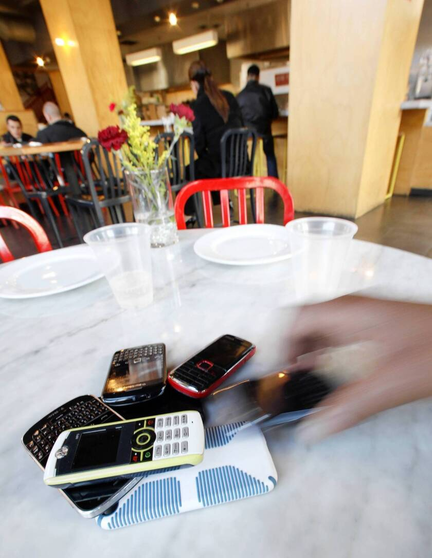 Sorry, cellphones aren't on the menu