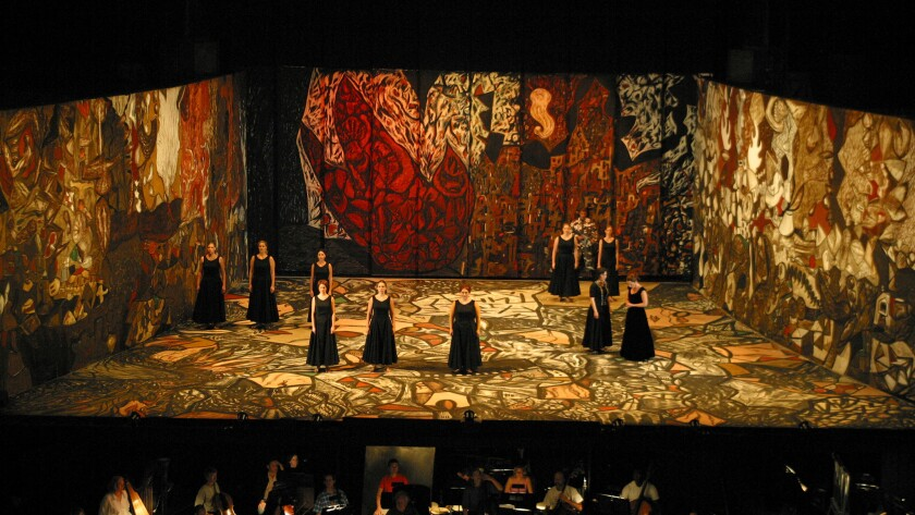 "A view of the opera ""Ainadamar,"" 2005, at the Santa Fe Opera, with set design by Gronk."