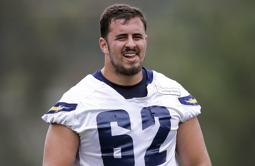 San Diego Chargers center Max Tuerk participates in training camp prior to the 2016 NFL season.