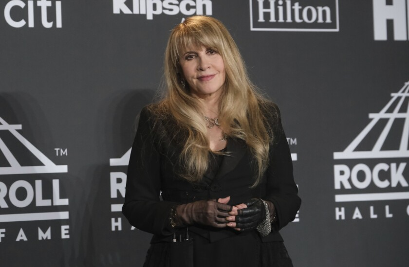 Inductee Stevie Nicks poses in the press room at the Rock & Roll Hall of Fame induction ceremony at the Barclays Center on Friday, March 29, 2019, in New York.