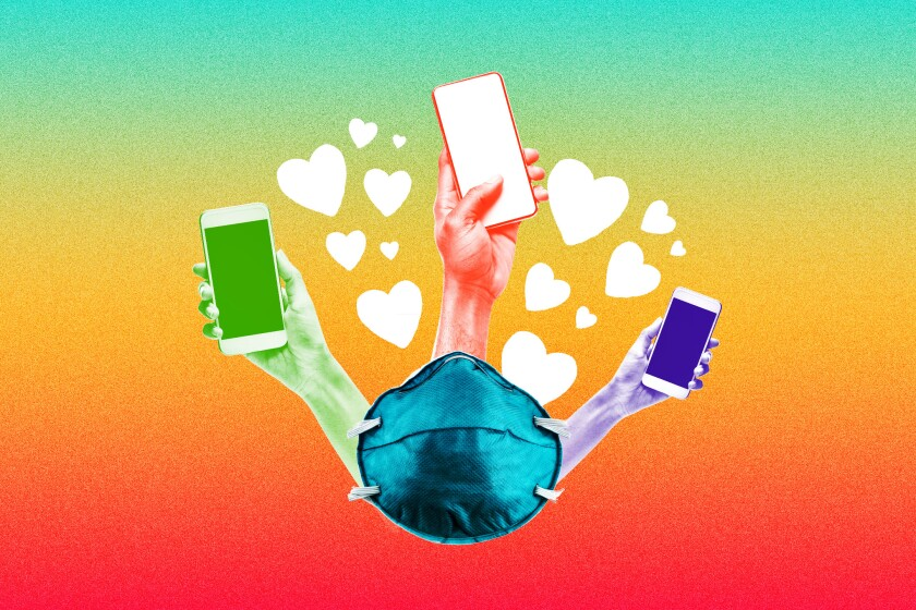Illustration of a face mask sprouting three hands holding smartphones