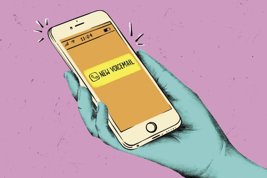 Illustration of phone with new voicemail alert