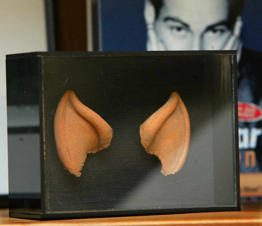 Leonard Nimoy's rubber ears from the 'Star Trek' series in his Bel-Air home.