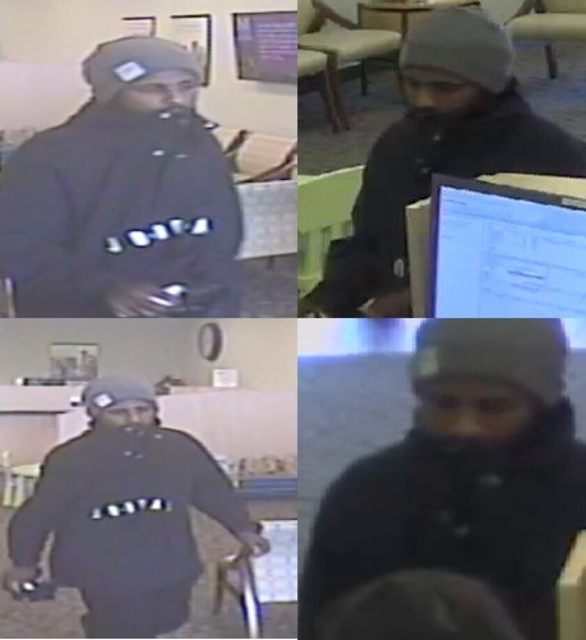Surveillance photos show the man suspected of robbing the California Coast Credit Union on East H Street in Chula Vista late Thursday morning.