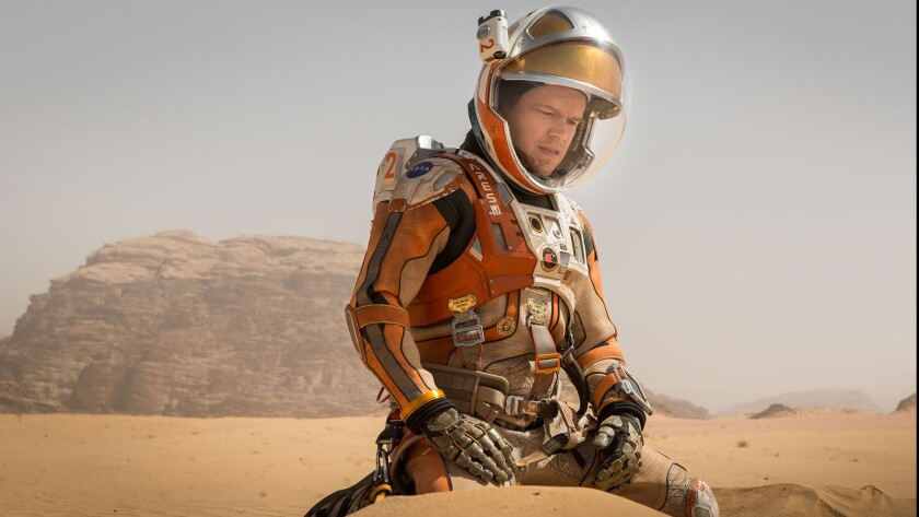 "Matt Damon portrays an astronaut who faces seemingly insurmountable odds as he tries to find a way to subsist on a hostile planet ln ""The Martian."""