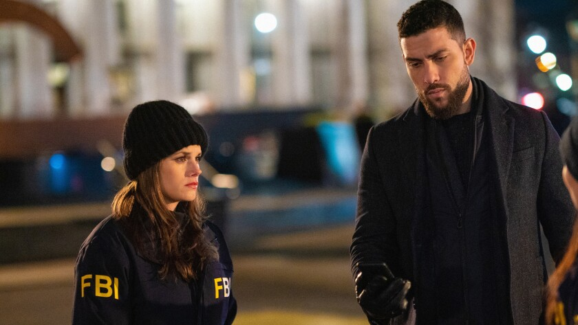 """Missy Peregrym and Zeeko Zaki in the opening episode of an """"FBI""""/""""FBI: Most Wanted"""" crossover event on CBS."""