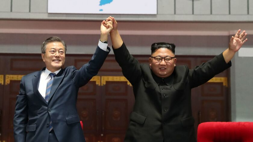 North Korean leader Kim Jong Un, right, and South Korean President Moon Jae-in after their summit Sept. 19 in Pyongyang.