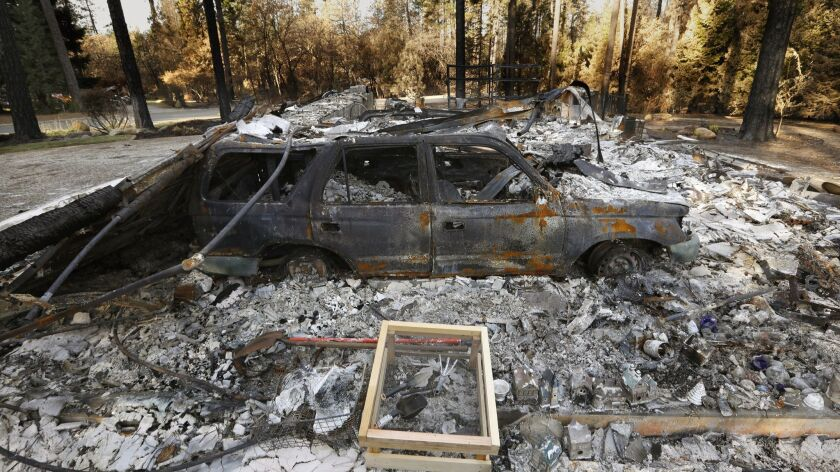 PARADISE, CALIFORNIA--NOV, 2018--One of the many homes lost to the Camp fire. The Camp Fire was the