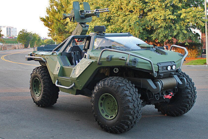"""Built on the chassis of a Hummer H1, this real-life """"Halo"""" Warthog is almost 8 feet tall, more than 8 feet wide and more than 17 feet long."""