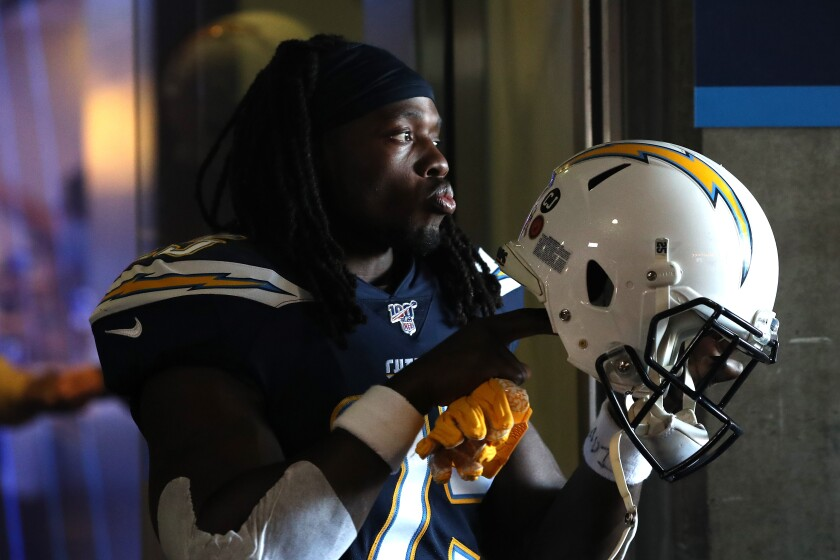 Melvin Gordon mentally prepares for the Chargers' game against the Green Bay Packers, which L.A. won.