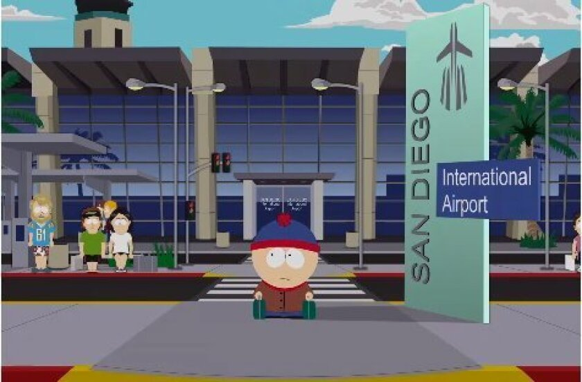 A scene from South Park featuring San Diego.