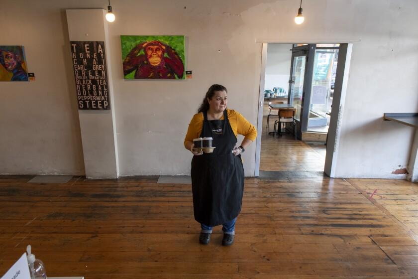 Cafe owner Maria Iatrou
