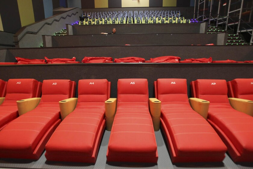 Lounges at the new Cinepolis Junior theater for families at the Cinepolis movie theater in Vista. (Hayne Palmour IV/Union-Tribune)