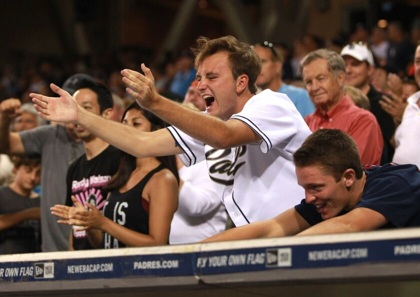 The San Diego Padres host the St. Louis Cardinals at Petco Park. Padre fans react in the 7th inning after Will Venable connected for a three run HR.