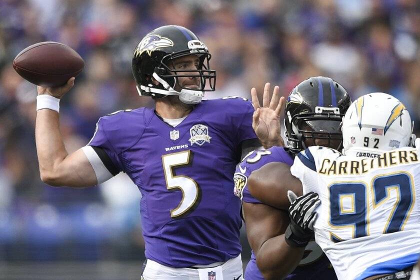 Baltimore Ravens quarterback Joe Flacco (5) passes the ball during the first half of an NFL football game against the San Diego Chargers in Baltimore, Sunday, Nov. 1, 2015. (AP Photo/Nick Wass)