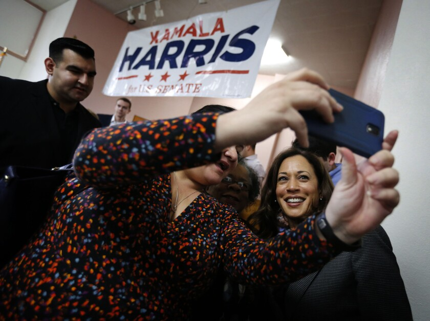 Kamala Harris, campaigning for the U.S. Senate seat she went on to win in 2016, strikes a pose in Los Angeles.