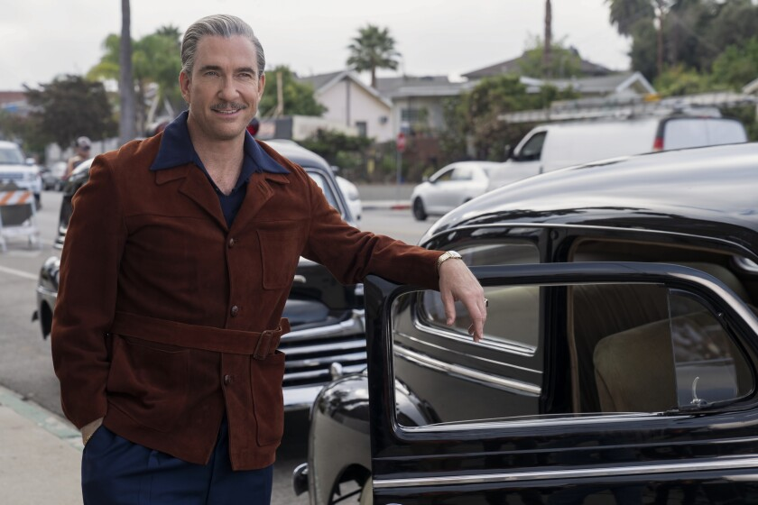 "Dylan McDermott plays Ernie, the owner of Golden Tip Gas, in ""Hollywood."""