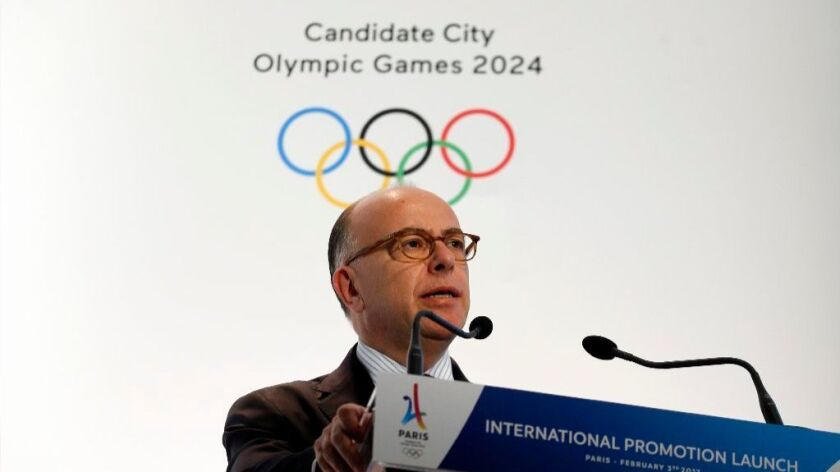 French Prime Minister Bernard Cazeneuve delivers a speech Friday on behalf of Paris, which hopes to host the 2024 Olympic Games.