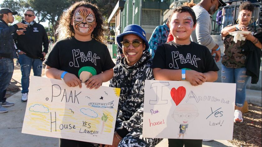 Children drew fan art for Oxnard singer Anderson .Paak at .Paak House in the Park event on Dec. 8, 2018, at MacArthur Park in L.A.