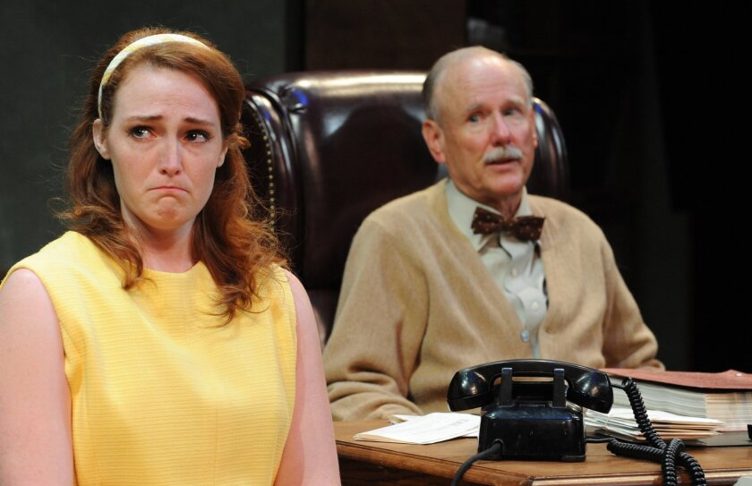 """Sarah Schorr (Kelsey Venter, left) and Judge Francis Biddle (Doug Waldo) work through a difficult moment in Lamb's Players Theatre's """"Trying."""""""