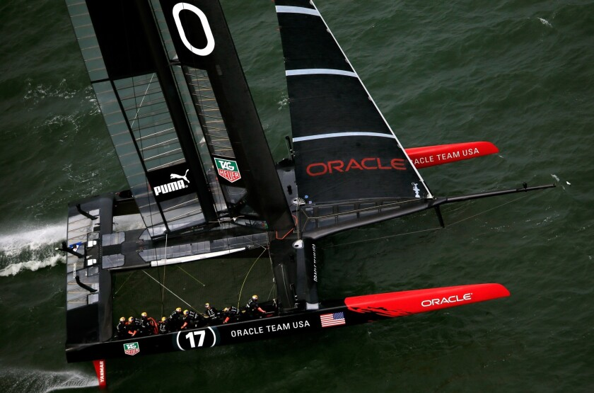 Oracle Team USA competes during Race 5 of the America's cup in San Francisco Bay on Tuesday.