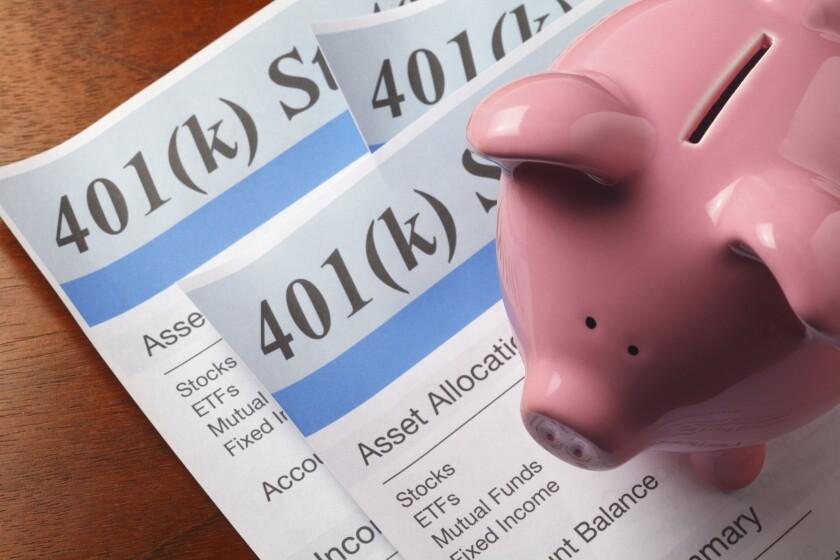 401k statement with piggy bank