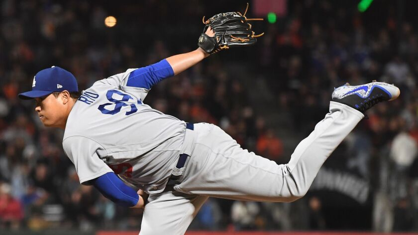 SAN FRANCISCO, SEPTEMBER 28, 2018-Dodgers pitcher Hyun-Jin Ryu throws a pitch against the Giants in