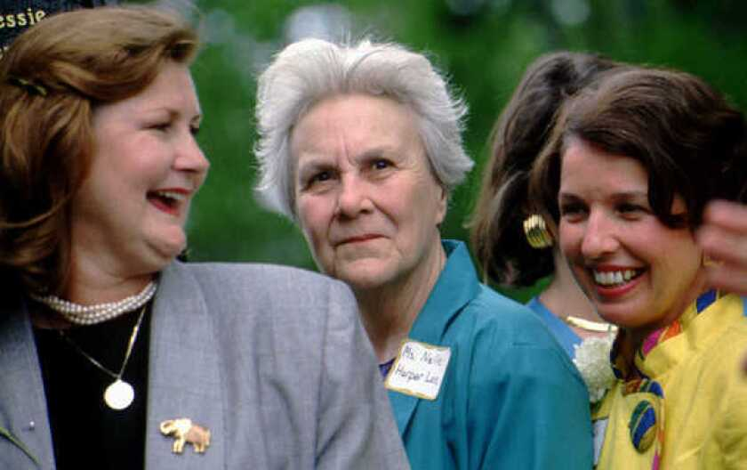 Harper Lee at an event at the University of Alabama in 1992.