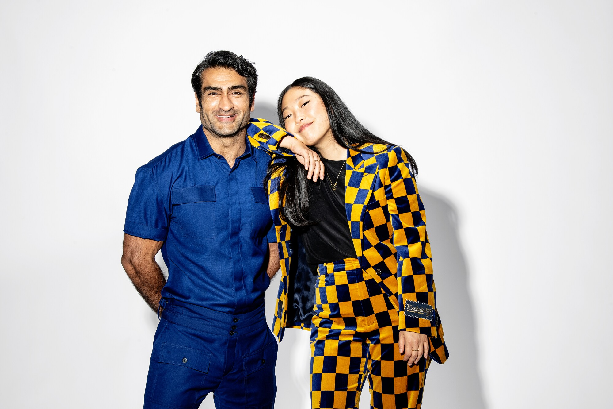 """Kumail Nanjiani of """"Eternals"""" and Awkwafina of """"Shang-Chi and the Legend of the Ten Rings"""" are photographed in Los Angeles."""
