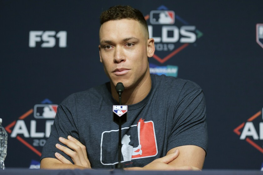 New York Yankees' Aaron Judge talks to reporters during a news conference at Yankee Stadium, Thursday, Oct. 3, 2019, in New York. The Yankees will host the Minnesota Twins in the first game of an American League Division Series on Friday. (AP Photo/Seth Wenig)