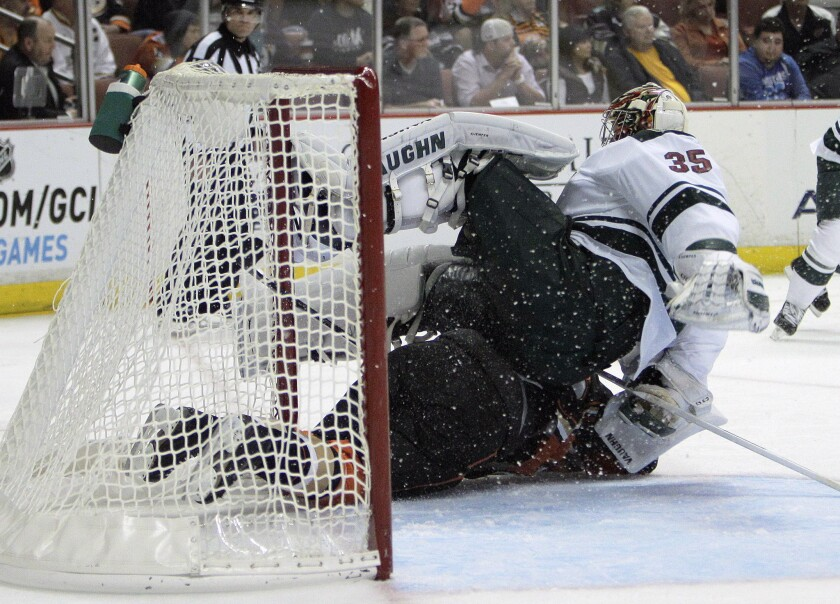Fox Sports has renewed a long-term TV rights deal that will keep the Anaheim Ducks on Fox Sports' Prime Ticket channel. Above, the Ducks play the Minnesota Wild this month at the Honda Center in Anaheim.