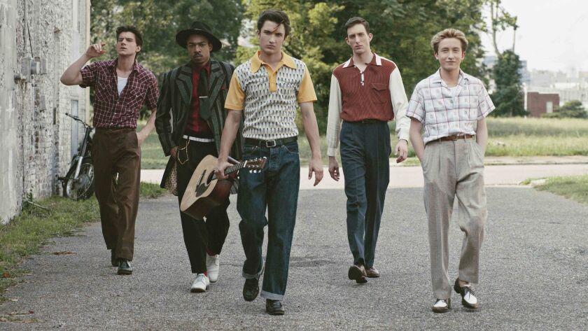 "Kevin Fonteyne as Johnny Cash, Kerry Holiday as Ike Turner, Drake Milligan as Elvis Presley, Dustin Ingram as Carl Perkins and Christian Lees as Jerry Lee Lewis in the series ""Sun Records."""