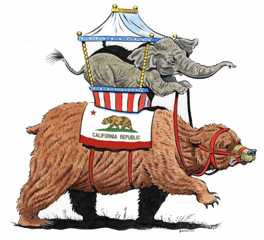 la-oe-0103-gothard /// Illustration by David Gothard / For The Times. To run with Kathryn S. Olmsted's piece about California roots of the national Republican party.