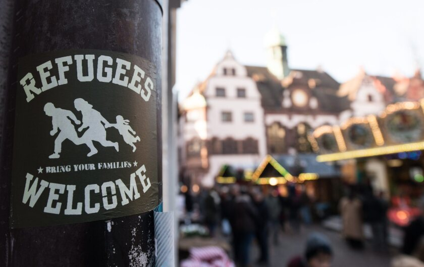 A sign in the inner city of Freiburg, Germany, where a 19-year-old student was killed, allegedly by a 17-year-old refugee in October, sparking political turmoil.