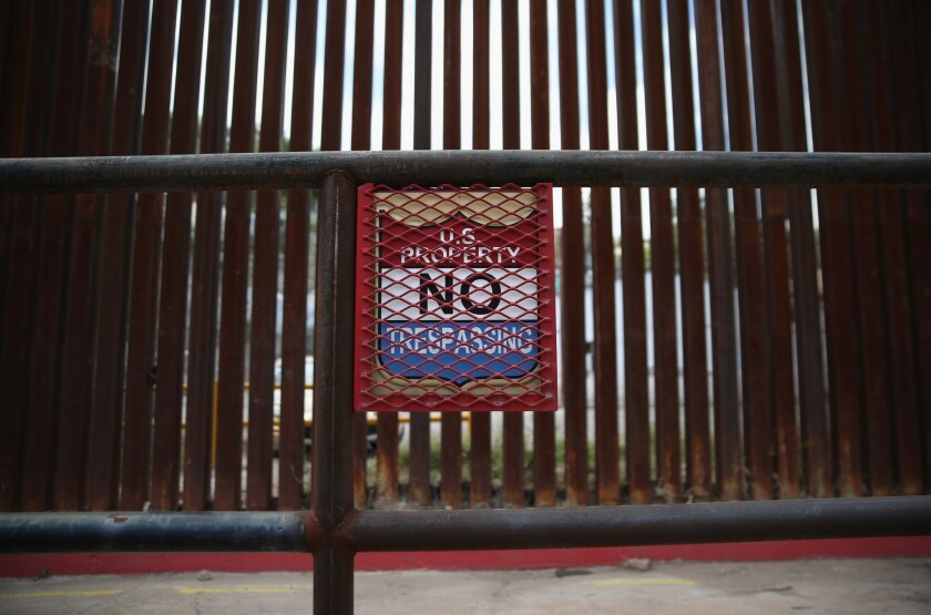 A sign at the U.S. border with Mexico in Nogales, Ariz.