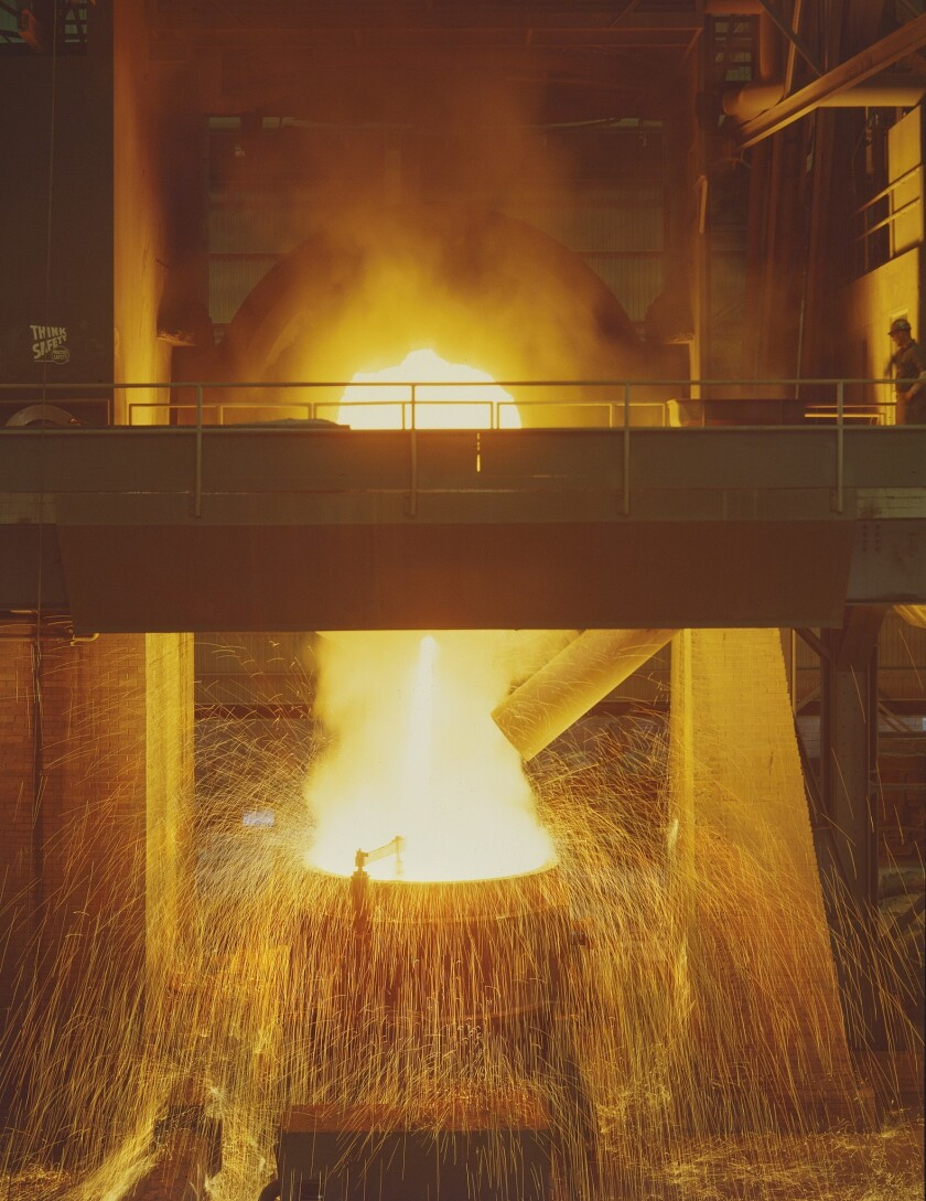 "Will Connell A photograph titled ""Kaiser Steel Furnace,"" circa 1958 on a Chromogenic Print featured"