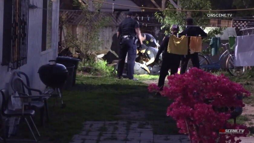 SDPD arrests a man in the backyard of a home following a homicide near the 47th Street trolley station in Lincoln Park.
