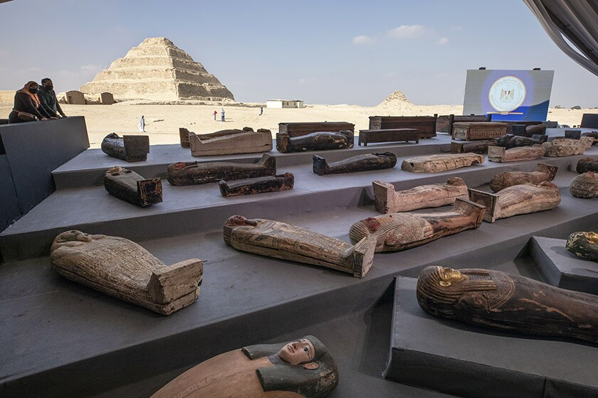 Ancient sarcophagi are displayed at a necropolis south of Cairo on Saturday.