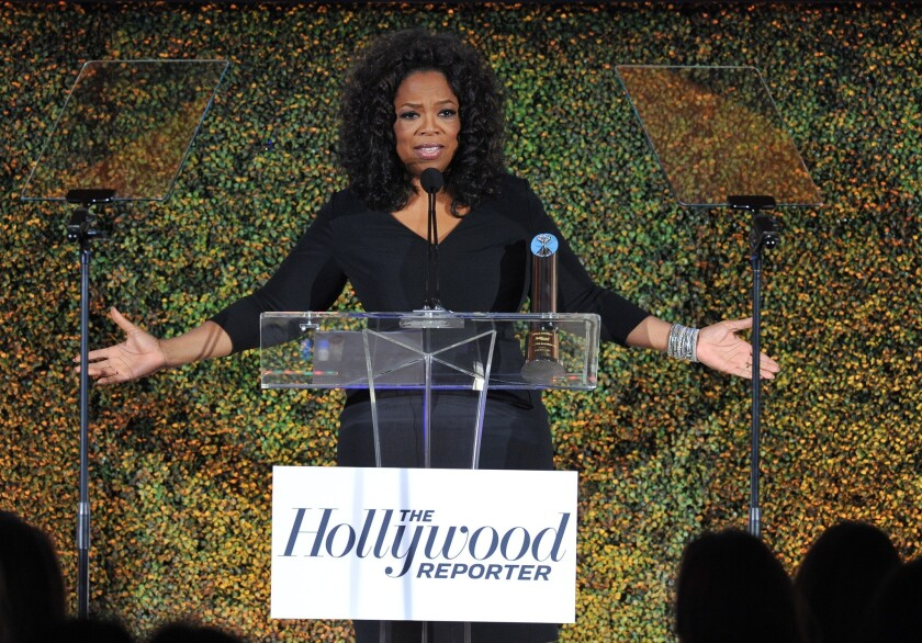 Oprah Winfrey attends the Hollywood Reporter's annual Women in Entertainment Power 100 breakfast Wednesday in Beverly Hills.