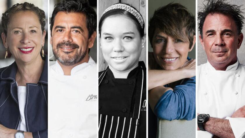 Chefs Nancy Silverton and Javier Plascencia (from left) are co-hosting the first Valle Wine & Food Festival on Oct. 22, which will feature rising Baja stars like Giannina Gavaldòn alongside such mega-celebrities as Michelin-starred Dominque Crenn and Josiah Citrin. (Courtesy photos)