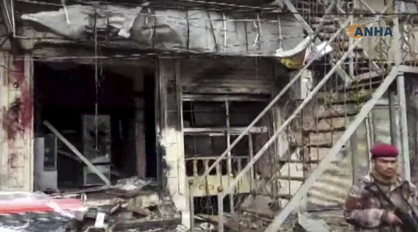 This frame grab from video provided by Hawar News, ANHA, the news agency for the semi-autonomous Kur