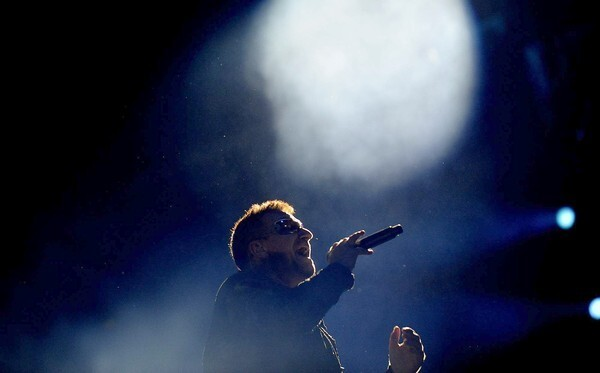 Bono performs at the Rose Bowl in Pasadena on Sunday, as part of U2's 360 Tour. Related: Amid the rattle and hum before U2's Rose Bowl show Related: Making the U2 set so big that it's invisible
