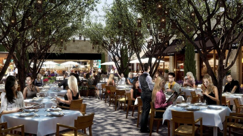"""Westfield UTC's expansion includes this open-air dining area called """"The Pointe."""""""